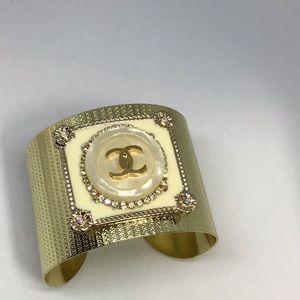 Gold cuff. Authentic coco button cuff bracelet.